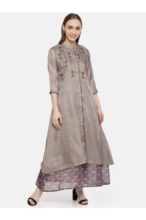 Kvsfab Women Grey Yoke Design A-Line Layered Kurta