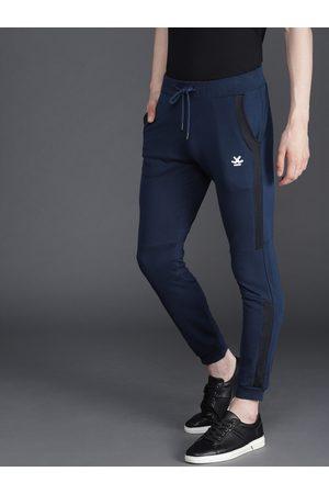 WROGN Men Navy Blue Slim Fit Solid Joggers