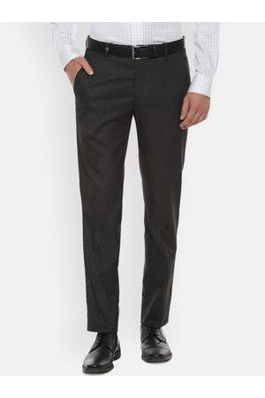 Louis Philippe Men Grey Slim Fit Self Design Formal Trousers