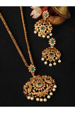Rubans Women Gold-Plated Green CZ Stone Studded Temple Jewellery Set