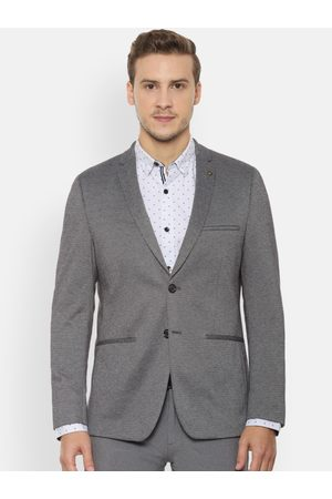 Allen Solly Men Grey Self-Design Slim Fit Blazer