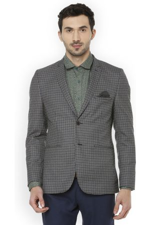 Louis Philippe Men Blue Checked Super Slim-Fit Single-Breasted Blazer