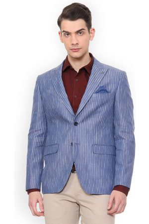 Louis Philippe Men Blue Striped Slim-Fit Single-Breasted Blazer