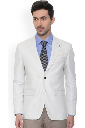 Louis Philippe Men White Self-Design Slim-Fit Single-Breasted Blazer