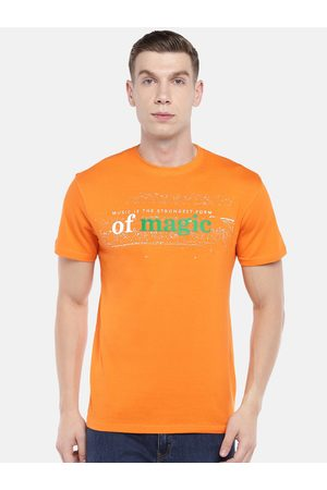 Globus Men Orange Printed Round Neck T-shirt