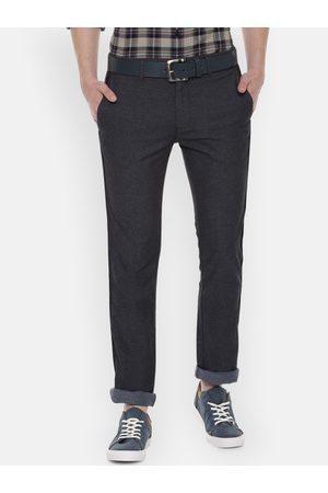 V Dot Men Navy Blue Slim Fit Self Design Regular Trousers