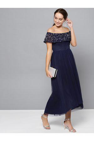 STREET 9 Women Navy Blue Embellished Detail Off-Shoulder Maxi Dress