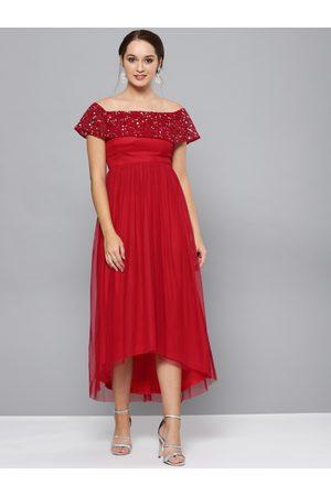 STREET 9 Women Solid Red Net Maxi Dress