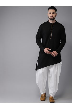 Anouk Men Black & White Solid Kurta with Salwar