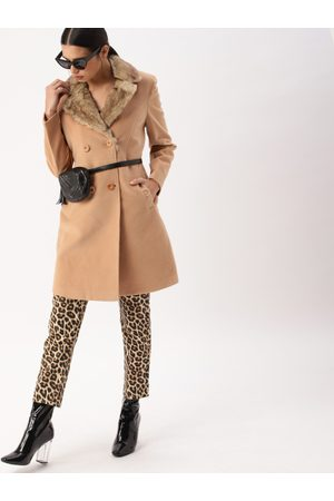 DressBerry Women Parkas - Women Camel Brown Solid Parka Coat