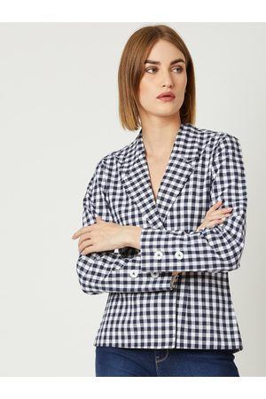 Miss Chase Women Navy Blue Checked Jacket