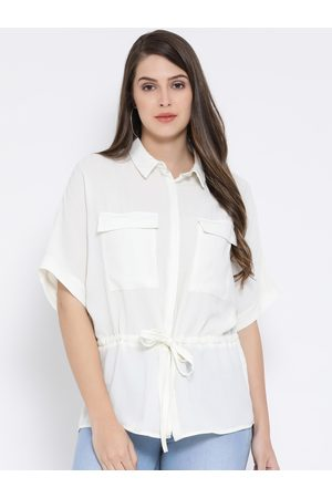 Oxolloxo Women White Solid Shirt Style Top