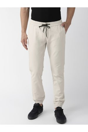 Hubberholme Men Beige Slim Fit Solid Joggers