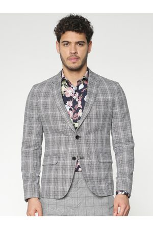 Jack & Jones Grey & Black Checked Slim Fit Single Breasted Smart Casual Blazer