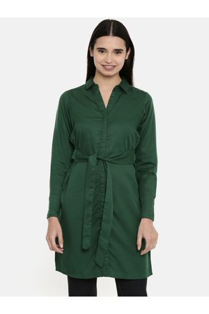 AND Women Green Solid Tie-Up Tunic