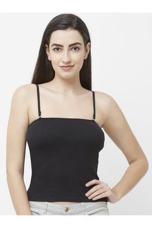 FashionRack Women Black Solid Knitted Lightly Padded Camisole 2028