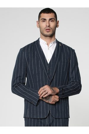 Jack & Jones Men Navy Blue & White Striped Single-Breasted Smart Casual Blazer