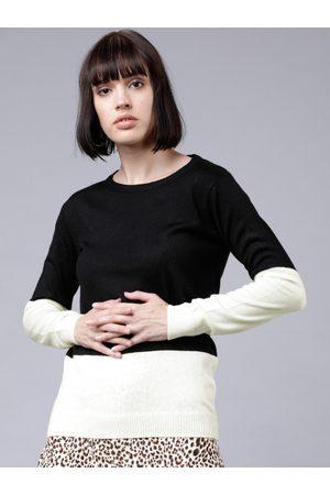 Tokyo Talkies Women White & Black Colourblocked Sweater