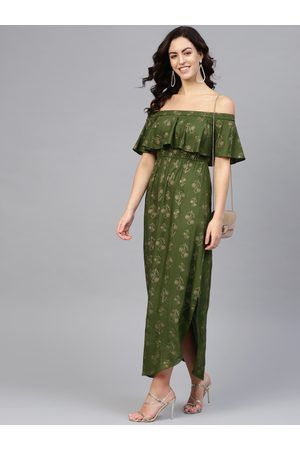 MABISH by Sonal Jain Women Green & Golden Off Shoulder Floral Printed Maxi Dress