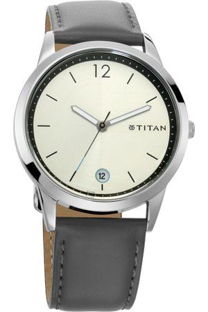 Titan Men Cream-Coloured Genuine Leather Analogue Watch 1806SL02