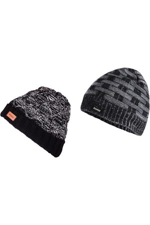 Knotyy Men Multicoloured Solid Pack of 2 Beanie