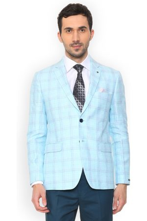 Louis Philippe Men Blue Checked Slim-Fit Single-Breasted Blazer