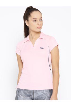 Yuuki Women Pink Solid Polo Collar T-shirt