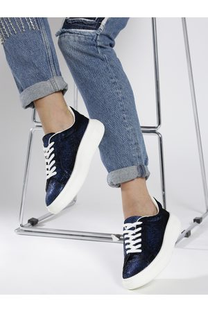 Corsica Women Navy Blue Shimmer Textured Sneakers