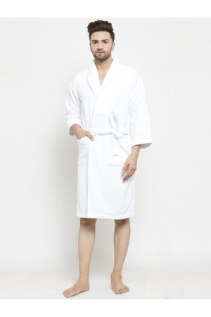 Trident Men White Solid Bath Robe 8904266236499