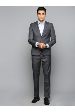 Louis Philippe Men Grey & Navy Blue Checked Slim Fit Single-Breasted Formal Suit