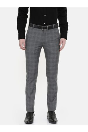 Ralph Lauren Men Grey & Black Super Slim Fit Checked Formal Trousers