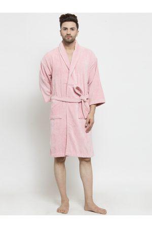 Trident Men Pink Solid Bath Robe 8904266236475