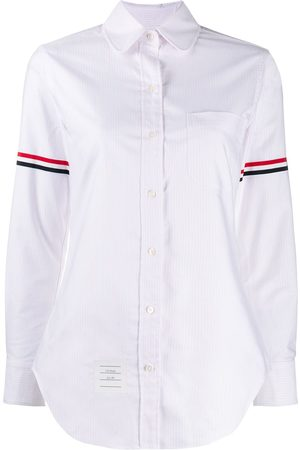 Thom Browne Women Long Sleeve - University-stripe Oxford shirt