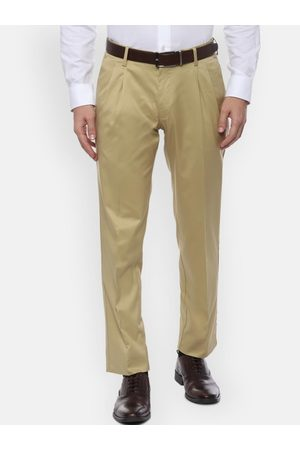 Louis Philippe Men Beige Regular Fit Solid Formal Trousers
