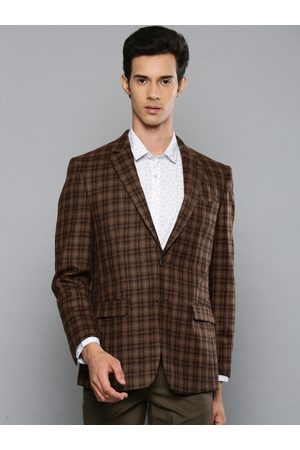 Louis Philippe Men Brown Self Checked Tailored Fit Single Breasted Formal Woolen Blazer