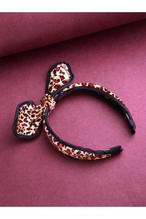 PRITA Beige & Brown Leopard Print Bow Detail Hairband with Velvet Finish