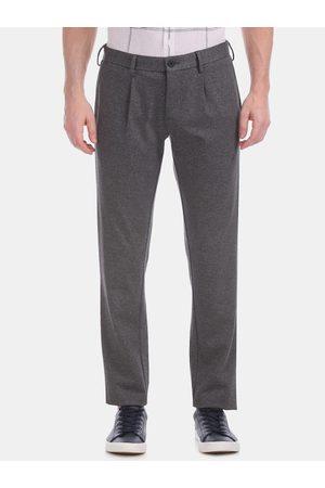 Flying Machine Men Grey Skinny Fit Solid Regular Trousers