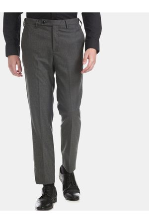 Arrow Men Grey Tapered Fit Self Design Formal Trousers