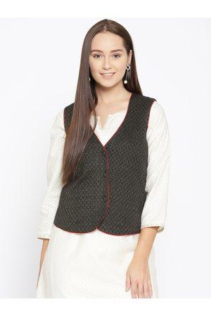 AURELIA Women Black & Golden Self-Design Ethnic Jacket