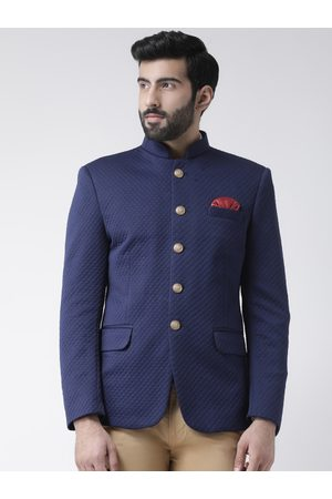 Hangup Men Blue Self-Design Regular-Fit Bandhgala Blazer