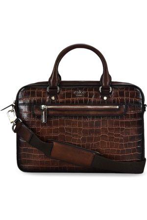 Eske Men Tan Brown Textured Leather Laptop Bag