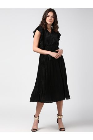 StyleStone Women Black Solid Fit and Flare Dress