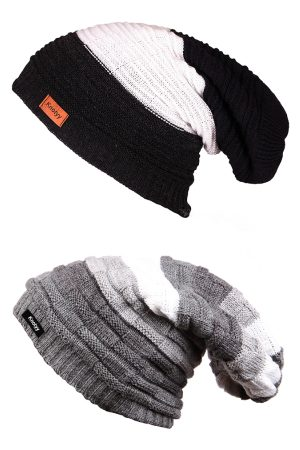 Knotyy Men Multicoloured Pack of 2 Self Design Beanie