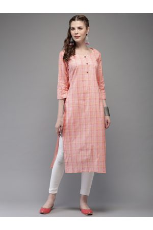 Anouk Women Pink Checked Straight Kurta