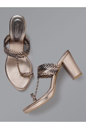 Anouk Women Rose Gold-Toned & Gunmetal-Toned Braided One Toe Heels