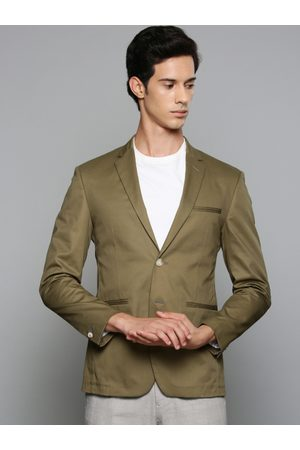 Louis Philippe Men Olive Green Solid Single-Breasted Blazer