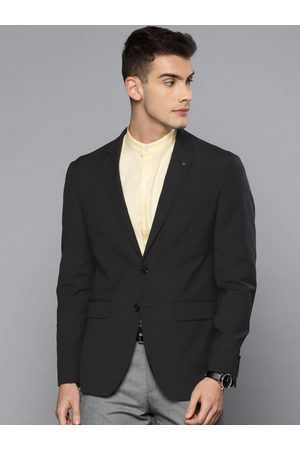 Louis Philippe Voyagers Men Black Solid Slim Fit Single Breasted Formal Blazer