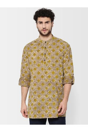 Fab India Men Kurtas - Men Taupe & Green Handblock Printed Straight Kurta