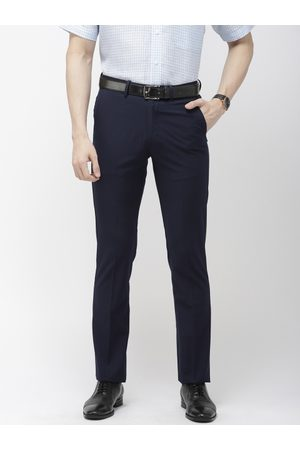 Arrow Men Navy Blue Tapered Fit Self Design Formal Trousers