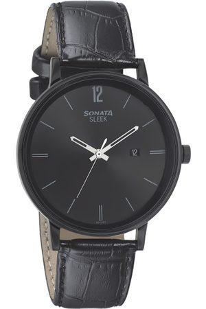 Sonata Men Black Analogue Leather Watch 7131NL01